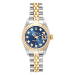 Rolex Datejust Steel Yellow Gold Blue Diamond Dial Ladies Watch 79173