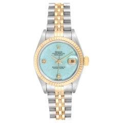 Rolex Datejust Steel Yellow Gold Blue Jadeite Diamond Ladies Watch 79173