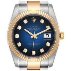 Rolex Datejust Steel Yellow Gold Blue Vignette Diamond Dial Watch 116233