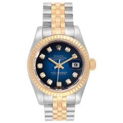 Rolex Datejust Steel Yellow Gold Blue Vignette Diamond Ladies Watch 179173