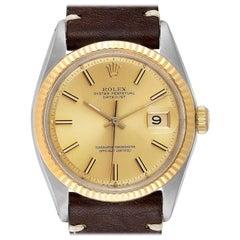 Rolex Datejust Steel Yellow Gold Brown Strap Vintage Men's Watch 1601