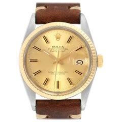 Rolex Datejust Steel Yellow Gold Brown Strap Vintage Men's Watch 16013