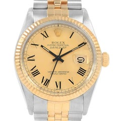 Rolex Datejust Steel Yellow Gold Buckley Dial Vintage Men's Watch 16013