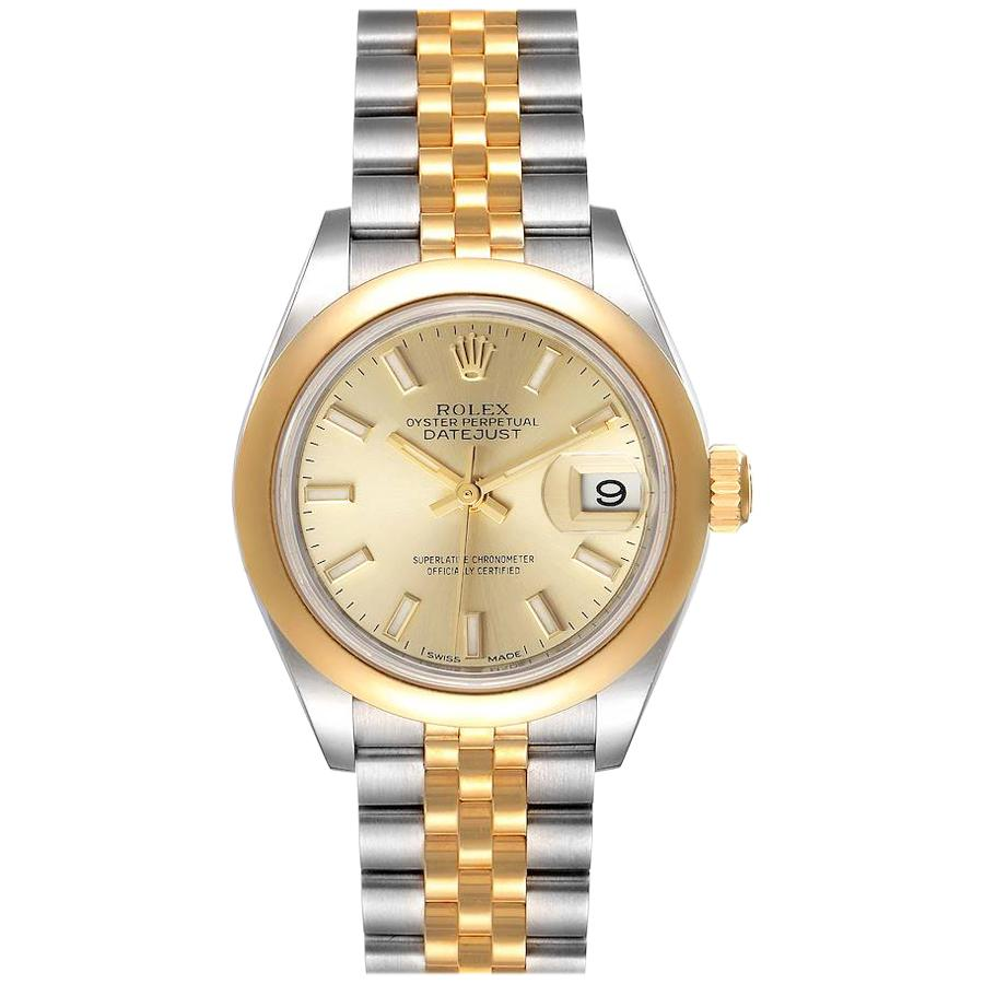 Rolex Datejust Steel Yellow Gold Champagne Dial Ladies Watch 279163 Box Card
