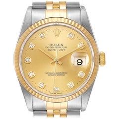 Rolex Datejust Steel Yellow Gold Champagne Diamond Dial Men's Watch 16233