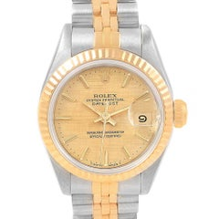 Rolex Datejust Steel Yellow Gold Champagne Linen Dial Ladies Watch 69173
