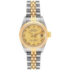 Rolex Datejust Steel Yellow Gold Champagne Roman Dial Ladies Watch 69173 Box