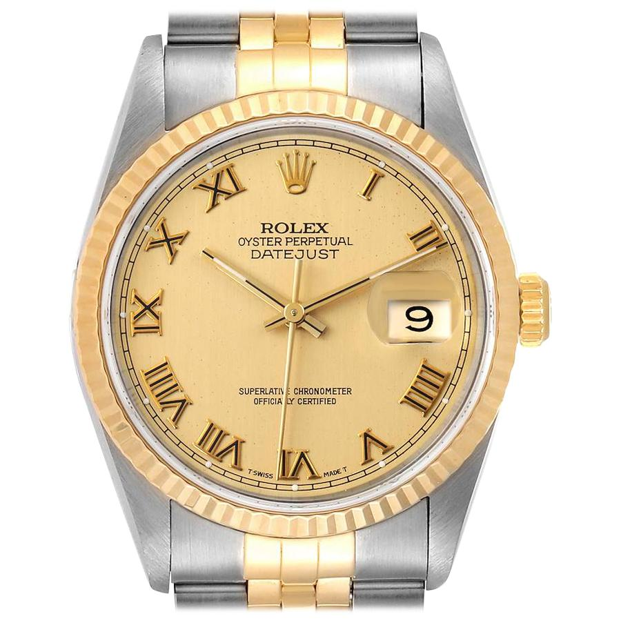 Rolex Datejust Steel Yellow Gold Champagne Roman Dial Men's Watch 16233 Box