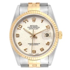 Rolex Datejust Steel Yellow Gold Dial Men's Watch 16233 Box Papers