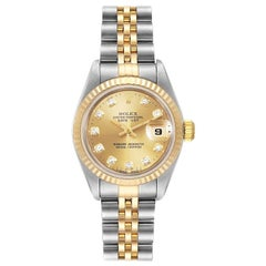 Rolex Datejust Steel Yellow Gold Diamond Dial Ladies Watch 79173 Box Papers