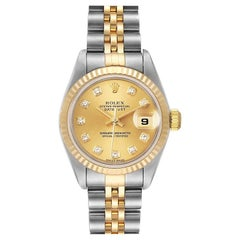 Rolex Datejust Steel Yellow Gold Diamond Dial Ladies Watch 79173 Papers
