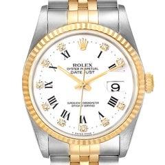 Rolex Datejust Steel Yellow Gold Diamond Dial Mens Watch 16233