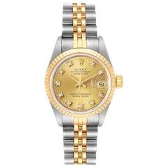 Rolex Datejust Steel Yellow Gold Diamond Ladies Watch 69173 Box