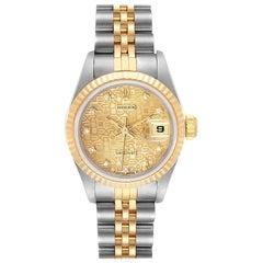 Rolex Datejust Steel Yellow Gold Diamond Ladies Watch 69173 Papers