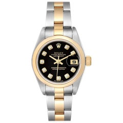 Rolex Datejust Steel Yellow Gold Diamond Ladies Watch 79163 Box