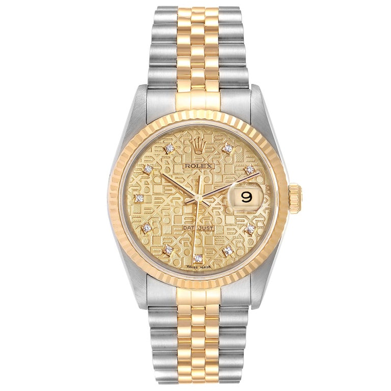 Rolex Datejust Steel Yellow Gold Diamond Mens Watch 16233 Box. Officially certified chronometer self-winding movement. Stainless steel case 36 mm in diameter. Rolex logo on a 18K yellow gold crown. 18k yellow gold fluted bezel. Scratch resistant