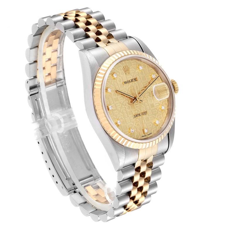 Rolex Datejust Steel Yellow Gold Diamond Men's Watch 16233 Box In Good Condition For Sale In Atlanta, GA