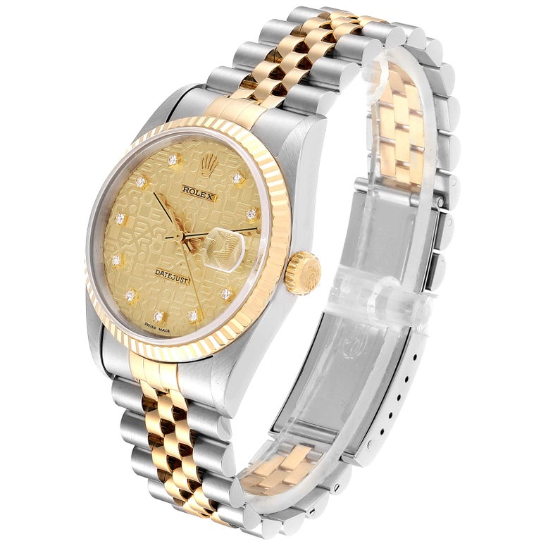 Rolex Datejust Steel Yellow Gold Diamond Men's Watch 16233 Box For Sale 1