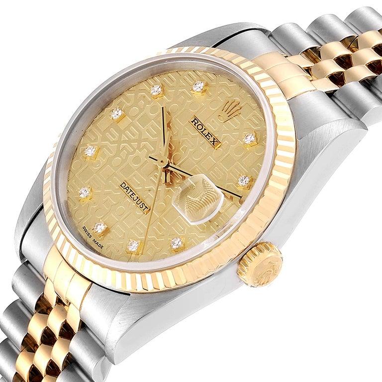 Rolex Datejust Steel Yellow Gold Diamond Men's Watch 16233 Box For Sale 2
