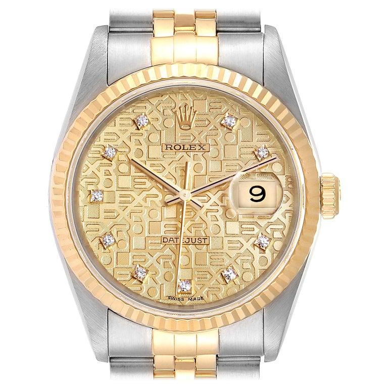 Rolex Datejust Steel Yellow Gold Diamond Men's Watch 16233 Box For Sale