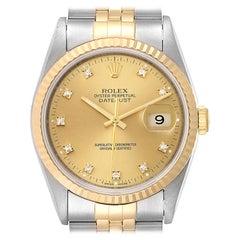Rolex Datejust Steel Yellow Gold Diamond Men's Watch 16233 Box Papers