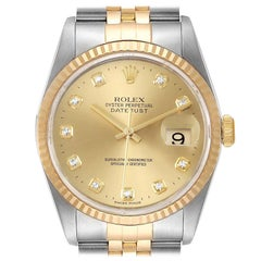 Rolex Datejust Steel Yellow Gold Diamond Men's Watch 16233