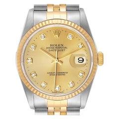 Rolex Datejust Steel Yellow Gold Diamond Men's Watch 16233