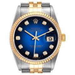 Rolex Datejust Steel Yellow Gold Diamond Vignette Dial Men's Watch 16233