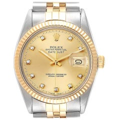 Rolex Datejust Steel Yellow Gold Diamond Vintage Men's Watch 16013 Box Papers