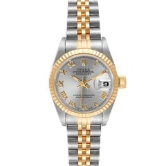 Rolex Datejust Steel Yellow Gold Grey Dial Ladies Watch 69173 Box Papers