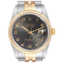 Rolex Datejust Steel Yellow Gold Grey Dial Men's Watch 16233