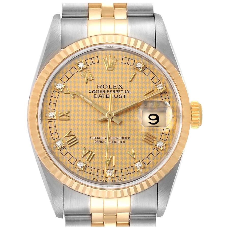 Rolex Datejust Steel Yellow Gold HoundsTooth Diamond Men's Watch 16233