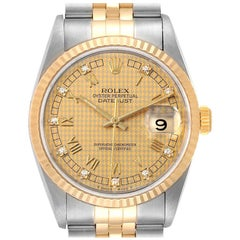 Rolex Datejust Steel Yellow Gold HoundsTooth Diamond Men's Watch 16233