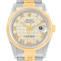 Rolex Datejust Steel Yellow Gold Ivory Pyramid Dial Men's Watch 16233