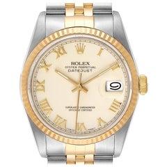 Rolex Datejust Steel Yellow Gold Ivory Roman Dial Men's Watch 16233