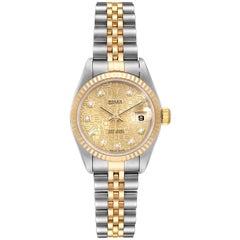 Rolex Datejust Steel Yellow Gold Jubilee Diamond Dial Ladies Watch 79173