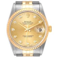 Rolex Datejust Steel Yellow Gold Jubilee Diamond Dial Men's Watch 16233