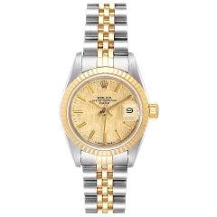 Rolex Datejust Steel Yellow Gold Linen Dial Ladies Watch 69173