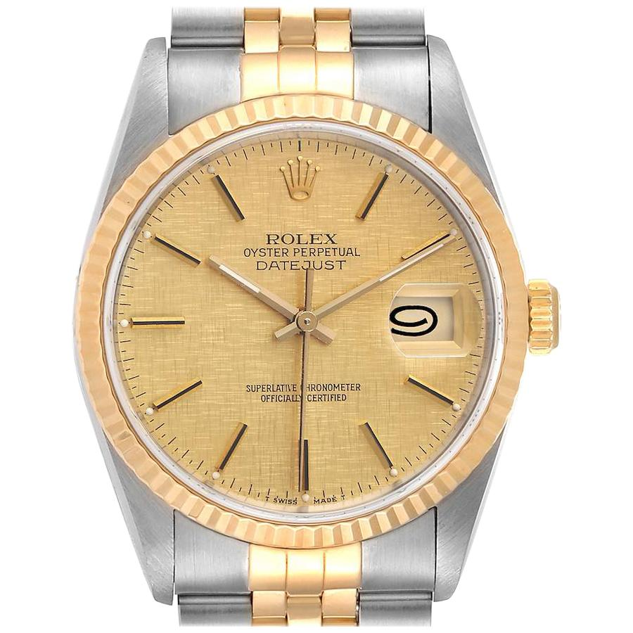 Rolex Datejust Steel Yellow Gold Linen Dial Men's Watch 16233