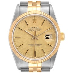 Rolex Datejust Steel Yellow Gold Linen Dial Men's Watch 16233