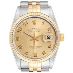 Rolex Datejust Steel Yellow Gold Men's Watch 16233 Box Papers