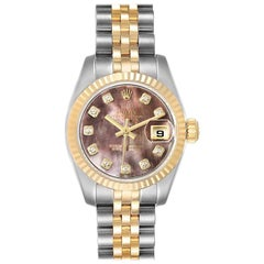 Rolex Datejust Steel Yellow Gold MOP Diamond Ladies Watch 179173 Box Tag