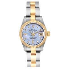 Rolex Datejust Steel Yellow Gold Mother of Pearl Diamond Ladies Watch 79173 Box