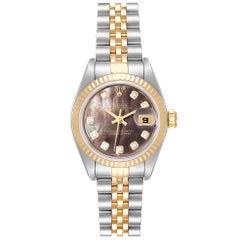 Rolex Datejust Steel Yellow Gold MOP Diamond Ladies Watch 79173 Box Papers