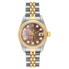 Rolex Datejust Steel Yellow Gold MOP Diamond Ladies Watch 79173