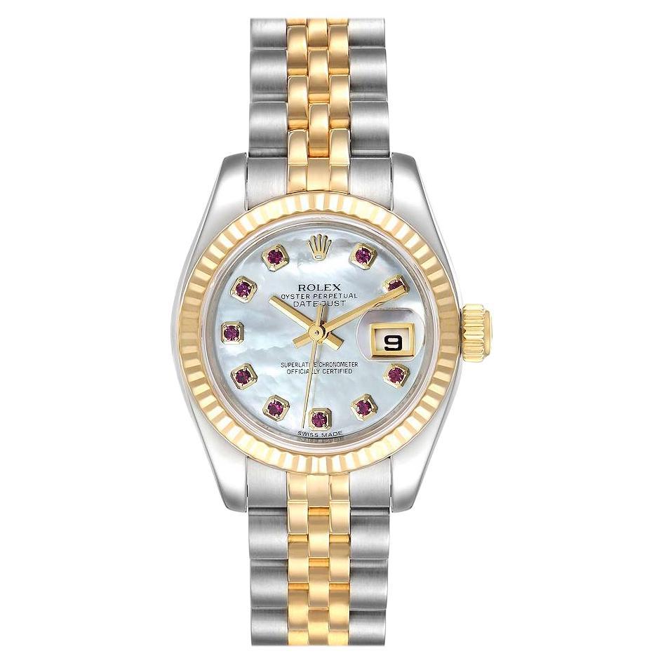 Rolex Datejust Steel Yellow Gold MOP Ruby Ladies Watch 179173 Box Card