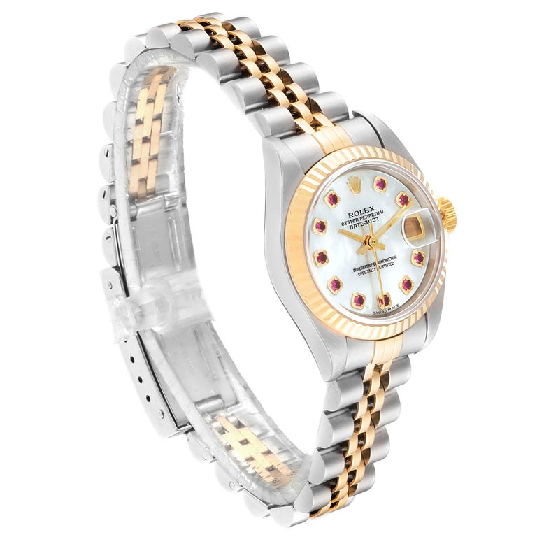 Rolex Datejust Steel Yellow Gold MOP Ruby Ladies Watch 79173 Box Papers In Good Condition For Sale In Atlanta, GA