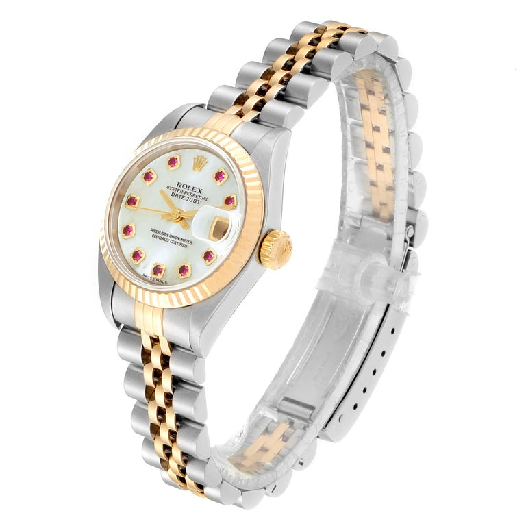 Women's Rolex Datejust Steel Yellow Gold MOP Ruby Ladies Watch 79173 Box Papers For Sale