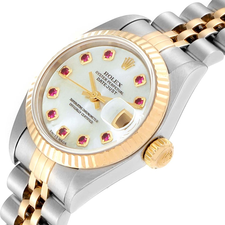 Rolex Datejust Steel Yellow Gold MOP Ruby Ladies Watch 79173 Box Papers For Sale 1