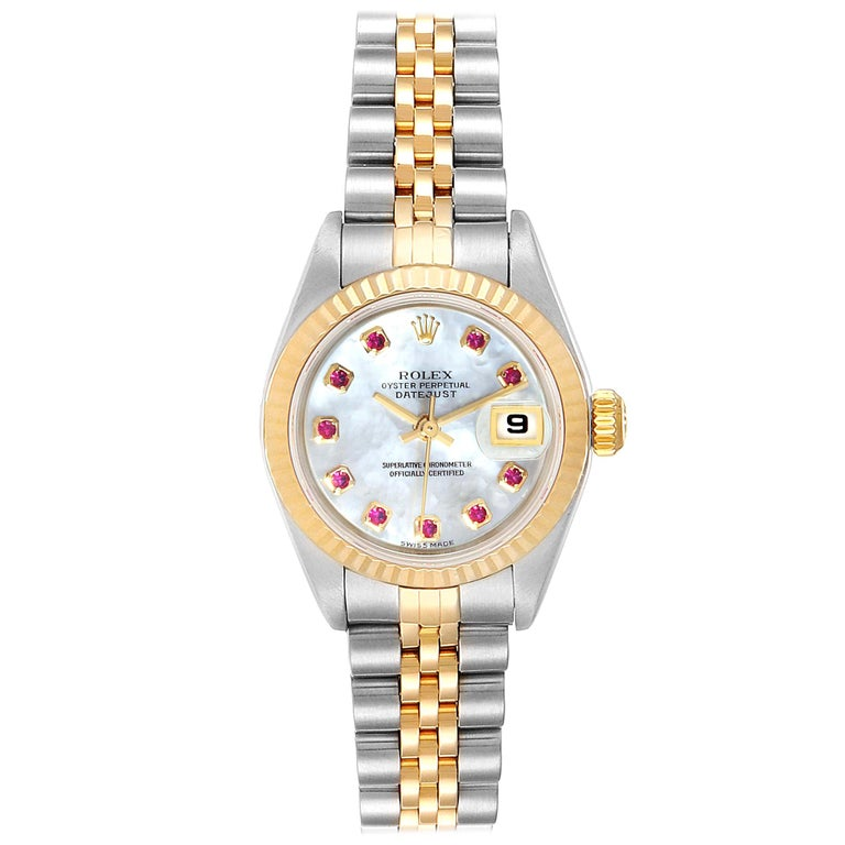 Rolex Datejust Steel Yellow Gold MOP Ruby Ladies Watch 79173 Box Papers For Sale